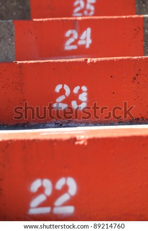 University of Florida orange stadium steps closeup. - stock photo