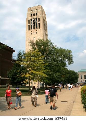 University of Michigan campus, Burton Tower - stock photo