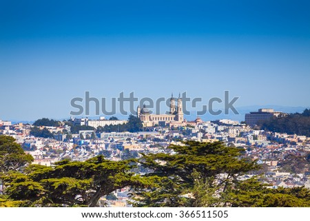 University of San Francisco view over city - stock photo