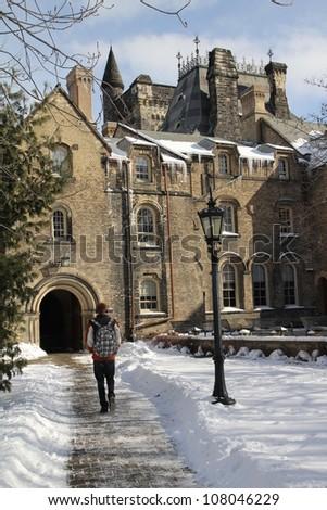 University of Toronto campus in winter - stock photo