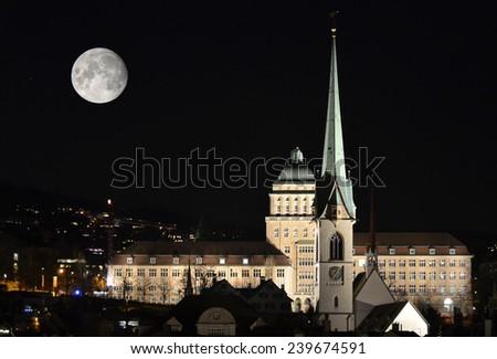 University of Zurich by night - stock photo
