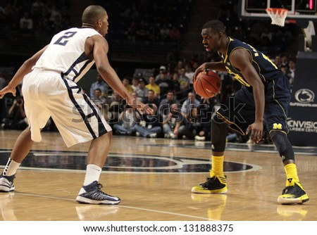 UNIVERSITY PARK, PA -  FEBRUARY 27: Michigan's Tim Hardaway Jr. dribbles during a game against Penn State  at the Byrce Jordan Center February 27, 2013 in University Park, PA