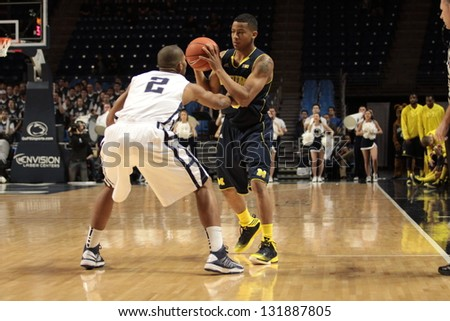 UNIVERSITY PARK, PA - FEBRUARY 27: Michigan's Trey Burke looks to pass during  a game against Penn State  at the Byrce Jordan Center February 27, 2013 in University Park, PA