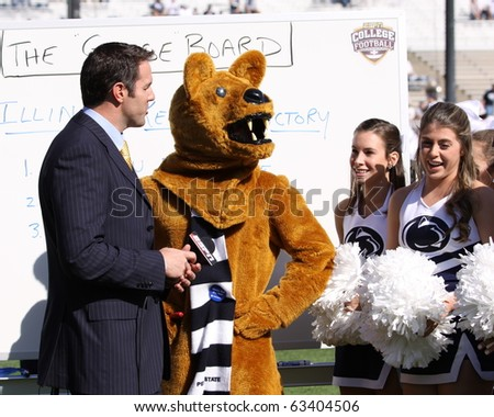 UNIVERSITY PARK, PA - OCT 9:ESPN announcer Brian Griese speaks with Nittany Lion and cheerleaders before a game against Illinois at Beaver Stadium October 9, 2010 in University Park, PA