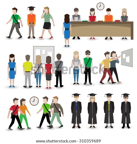University school and college education students people avatars set  illustration