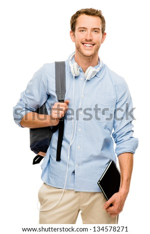 university student man back to school background - stock photo
