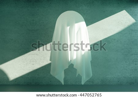 Unknown levitating object under white cloth on concrete background with sunlight. 3D Rendering - stock photo