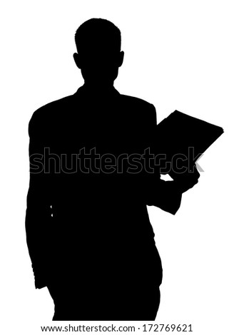 Unknown male silhouette with papers in hand - stock photo