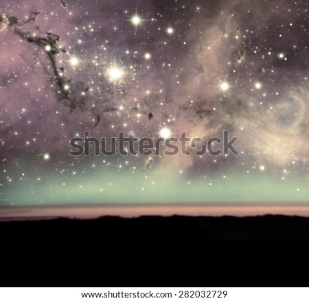 Unknown nebula new galaxy stars. Soft unfocus blurred color Space wallpaper Abstract photo realistic Simple website template.  Web design and mobile interface. Elements of this image furnished by NASA - stock photo