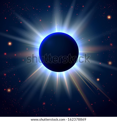 Unknown planet eclipse. Abstract cosmic background with place for Your text.