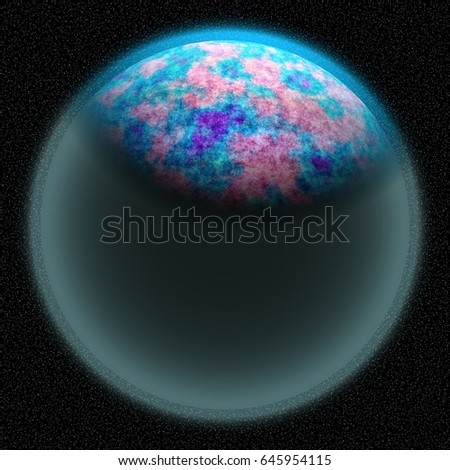 Unknown planet lost in the far corner of universe. A planet with shinning atmosphere hidden  somewhere in dark space