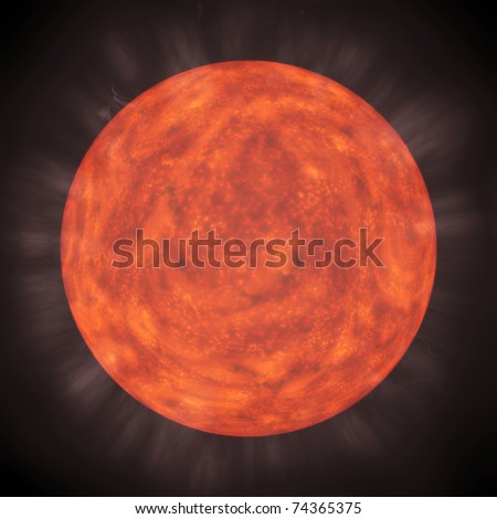 Unknown red planet with mysterious light against the black sky - stock photo