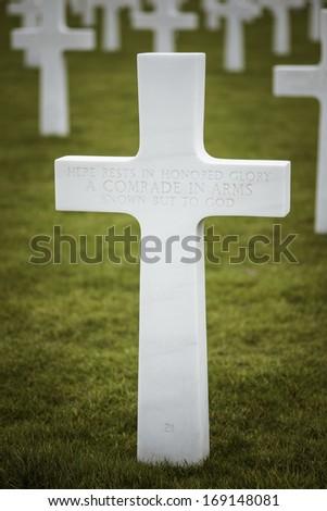Unknown soldier's cross gravestone (Memorial day) - stock photo