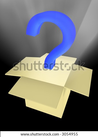Unknown surprise in a box. Abstract 3D image - stock photo