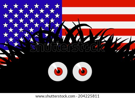 Unknown threat to the United States of America - comic illustration with flag and black red-eyed monster - stock photo