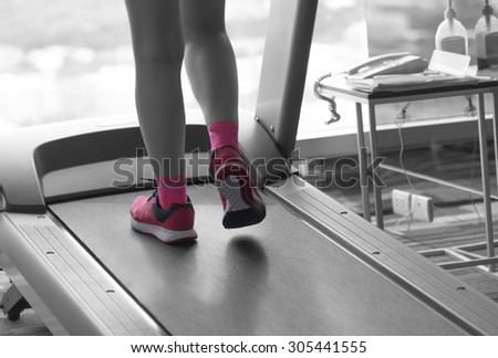 Unknown woman wear pink running shoes workout  fitness.woman  - stock photo