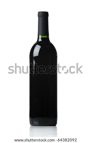 Unlabeled Bottle of Red Wine isolated on a white background