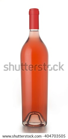 Unlabeled rose wine bottle with cap isolated on white background