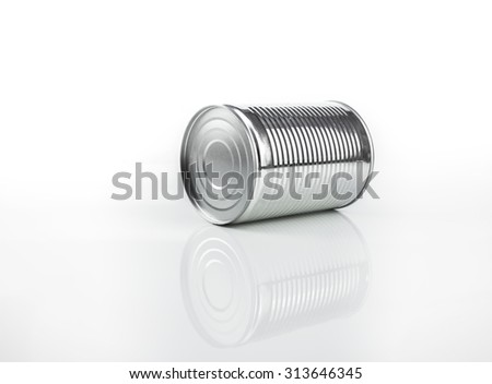 Unlabeled tin can over isolated white background - stock photo