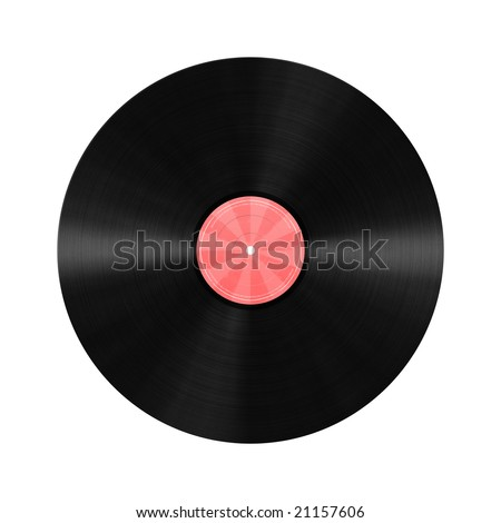 Unlabeled vinyl record illustration with red label