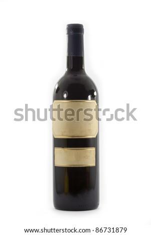 unlabeled wine bottle - stock photo