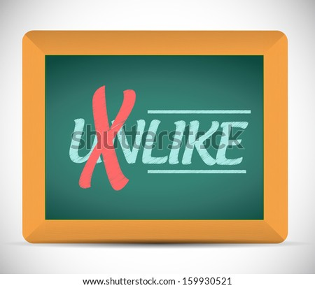 unlike to like message on a chalkboard illustration design graphic - stock photo