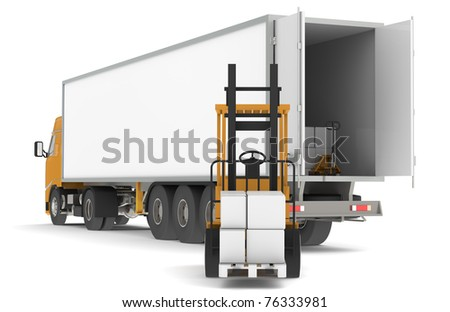 Unloading the Truck. Forklift unloading a trailer with pallets. Part of warehouse series. - stock photo