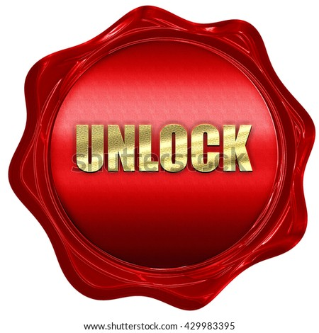 unlock, 3D rendering, a red wax seal - stock photo