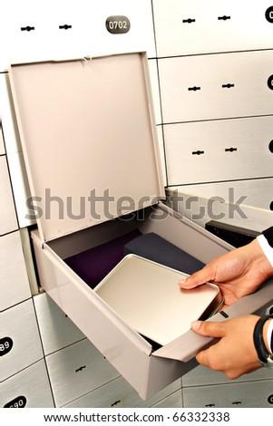 unlock deposit safe - stock photo