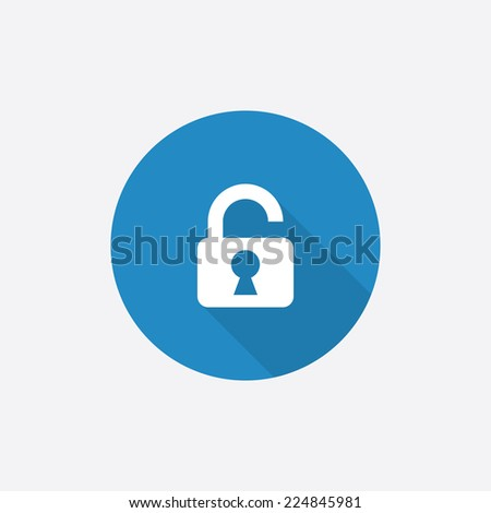unlock Flat Blue Simple Icon with long shadow, isolated on white background