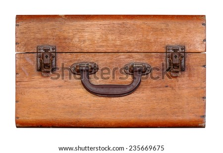 Unlock vintage wood box isolated on white with working path - stock photo