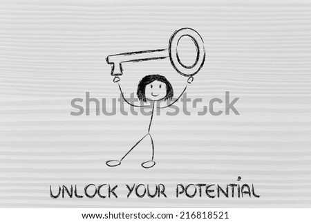 unlock your potential, funny girl holding oversized key - stock photo