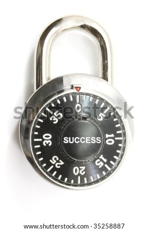 Unlock your success.  Success spelled out on combination lock.