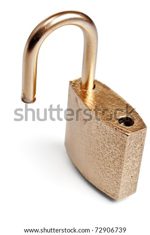 Unlocked open golden padlock isolated - stock photo