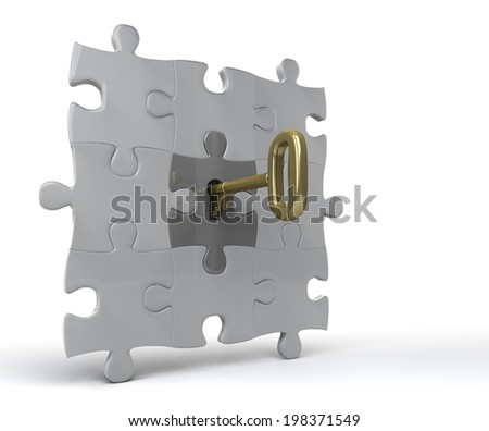 Unlocking puzzle on wall Key unlocks jigsaw piece in a wall. 3D rendered on white background.  - stock photo