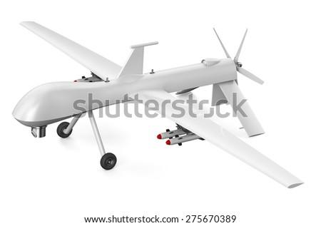 unmanned aerial vehicle UAV isolated on  white background - stock photo