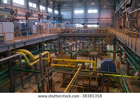 unmanned air separating factory inside view - stock photo