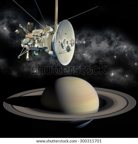 Unmanned spacecraft similar with the Cassini Huygens orbiter, closing Saturn. Elements of this image furnished by NASA. - stock photo
