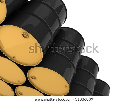 unmarked black barrels stacked row upon row - stock photo