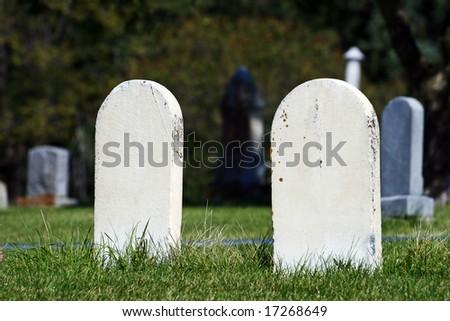 Unmarked Tombstones - stock photo