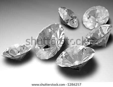 Unmounted diamond gemstones - stock photo