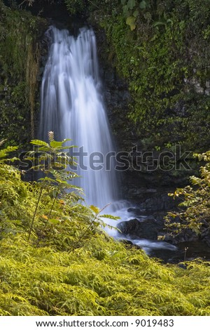 Unnamed falls on the Wailuku River as seen from the property of OK Farms, Hilo Hawaii - stock photo