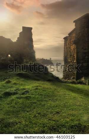 Unnatural sunrise between the old ruins in France