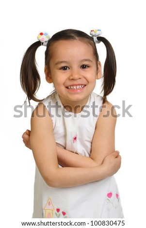 unny lovely little girl on a white background - stock photo