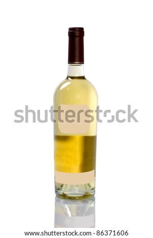 Unopened bottle of white wine with reflection on white background. - stock photo