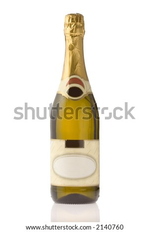 Unopened expensive champagne bottle against white background - stock photo