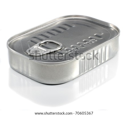 Unopened Metal Ring Pull Sardine Can On A White Background - stock photo