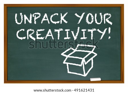 Unpack Your Creativity Chalk Board Imagination 3d Illustration