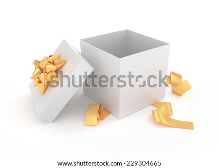 Unpacked luxury gift box - 3D rendered image - stock photo