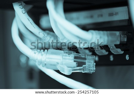 Unplug Server Internet Connected  LAN cables. - stock photo